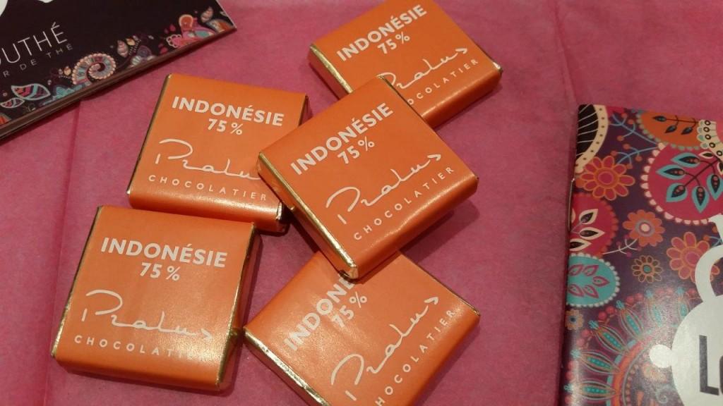 Chocolats 75% à base de fèves de cacaco d'Indonésie du chocolatier Pralus