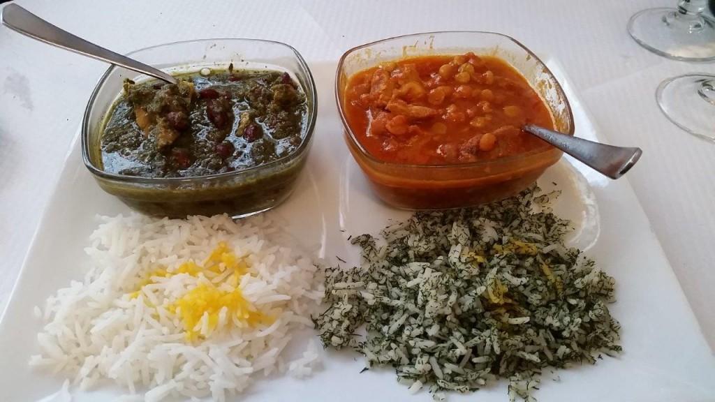 Mixte de plats mijoté: Gheimeh Bademjan et Ghormeh Sabzi et
