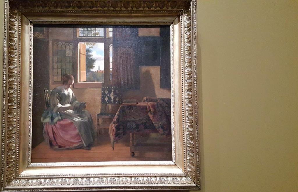 Pieter de Hooch Femme lisant une lettre devant la fenêtre ouverte