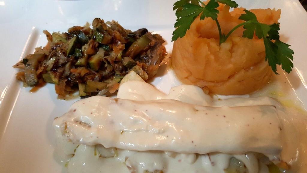Dos de cabillaud à la purée de patate douce et légumes grillés