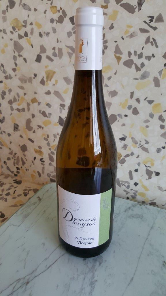 bouteille de vin blanc Domaine de Dionysos - Viognier La Devèze Bio 2015