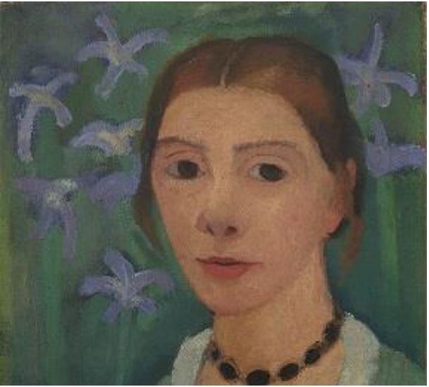 Paula Modersohn-Becker (1876-1907) Autoportrait sur fond vert avec des iris bleus Vers 1905 © Paula-Modersohn-Becker-Stiftung, Brême
