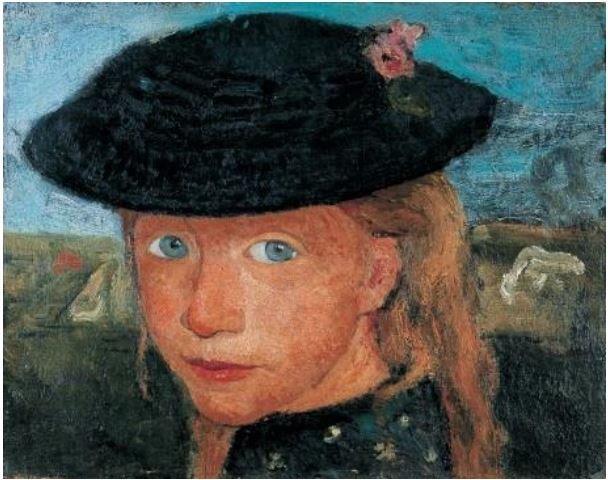 Paula Modersohn-Becker (1876-1907) Tête d'une jeune fille blonde coiffée d'un chapeau de paille Vers 1904 © Medienzentrum, Antje Zeis-Loi / Kunst-und Museumsverein, Wuppertal
