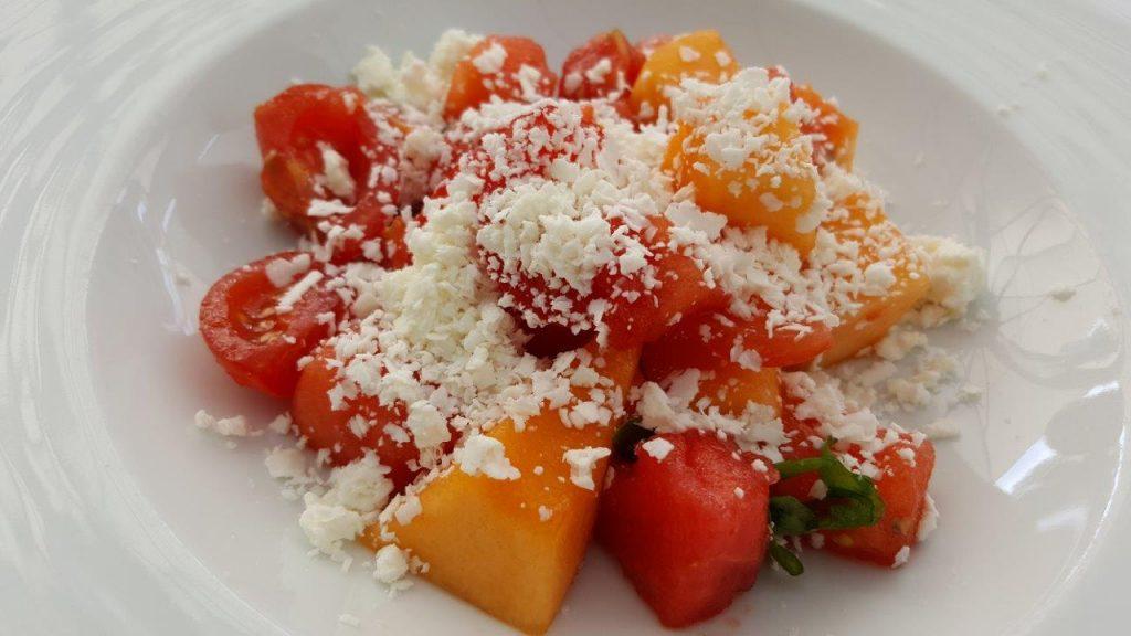 Melon et pastèques, copeaux de feta